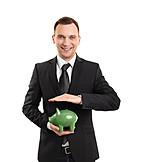 Businessman, Piggy Bank, Savings
