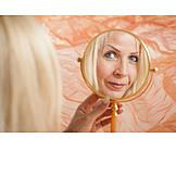 Porträt, Spiegelbild, Schminkspiegel