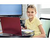 Girl, Home, Learning, Homework