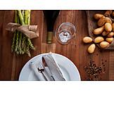 Gastronomy, Asparagus, Green Asparagus, Place Setting