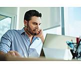 Man, Desk, Tense
