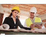 Meeting, Baustelle, Bauleiter, Architektin