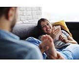 Paar, Glücklich, Fußmassage