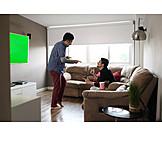 Enthusiastic, Watching Tv, Clue, Friends, Green Screen