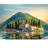 Adriatic sea, Montenegro, Perast, St george