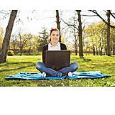 Park, Laptop, Student