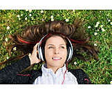 Woman, Meadow, Headphones