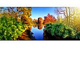 Trees, River, Autumn Light