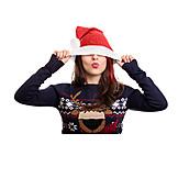 Woman, Hiding, Xmas, Santa Hat