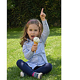 Girl, Eating, Garden, Ice
