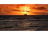 Sea, Sunset, Fishing Boat