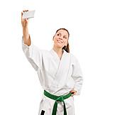 Smart phone, Self portrait, Fight sportswoman