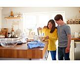 Couple, Embracing, Kitchen, Baking