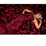 Woman, Dress, Rose