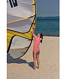 Beach, Preparation, Kiteboarding