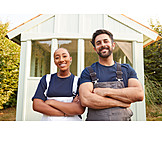 Couple, Teamwork, Home Improvement, Garden Arbor
