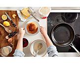 Zubereitung, Zutaten, Pfannkuchen, Pancakes