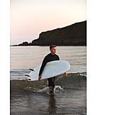 Twilight, Sea, Surfer