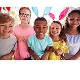 Children Group, Happy, Easter, Rabbit Ears