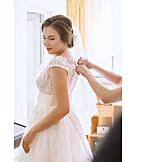 Wedding, Getting Dressed, Bride, Wedding Dress