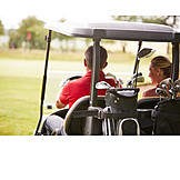 Couple, Golf, Golf Course, Golf Cart