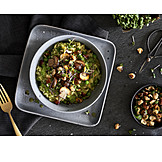 Hazelnuts, Peas, Mushrooms, Risotto