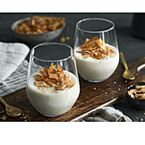 Dessert, Dessert, Vanilla Pudding, Almond Flakes
