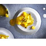 Dessert, Süßspeise, Kompott, Panna Cotta, Vegan