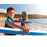 Happy, Beach, Surfing, Siblings