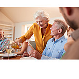 Grandmother, Wine, Pouring, Family Meal