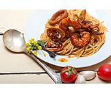 Seafood, Spaghetti, Dish
