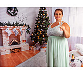 Young woman, Sparkling, Christmas, Plump