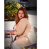 Woman, Cafe, Overweight
