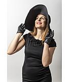 Hat, Fashion, Black, Gloves, Evening Gown
