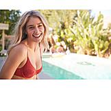 Woman, Laughing, Pool, Bikini