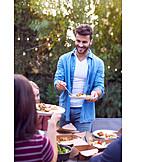 Happy, Friends, Dinner, Take Away, Garden Party