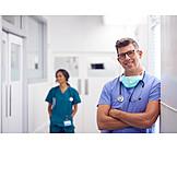Smiling, Doctor, Hospital, Surgeon