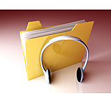 Music, Headphones, Folder