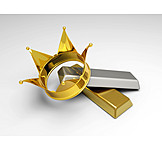 Crown, Gold, Wealthiness, Money