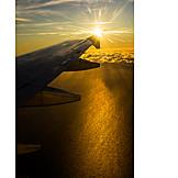 Sea, Airplane, Evening Sun