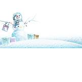 Winter, Snowman, Christmas Present