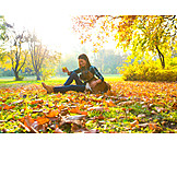 Woman, Park, Autumn, Dog