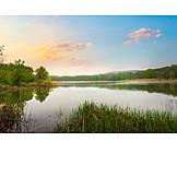 Calm, Sunset, Lake, Silence