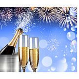 New Years Eve, Champagne, Cork, Bang
