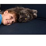 Girl, Friendship, Cat