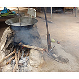 Cooking, Wooden Fire, Clay Oven