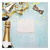 Golden, Sektflasche, Einladung, Konfetti, Faschingsparty