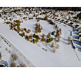 Park, Winter, Snow, Residences