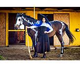 Pferd, Verkleidung, Hexe, Halloween