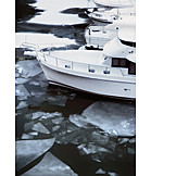 Rhine river, Ice floes, Yacht